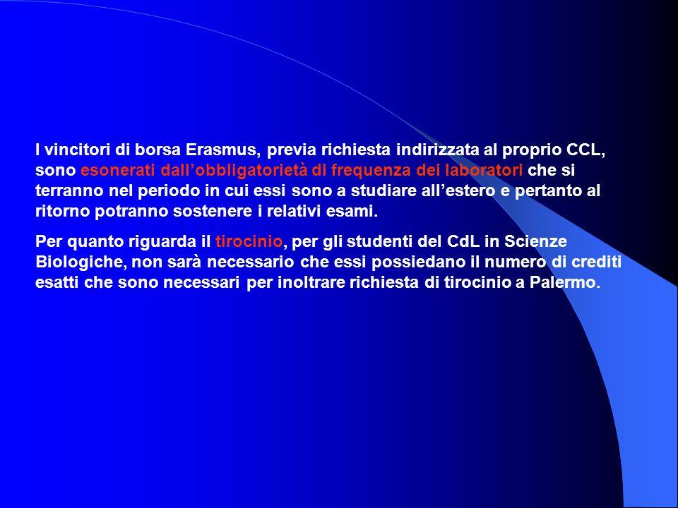 I vincitori di borsa Erasmus, previa richiesta indirizzata al proprio CCL, sono esonerati dall'obbligatorietà di frequenza dei laboratori che si terra