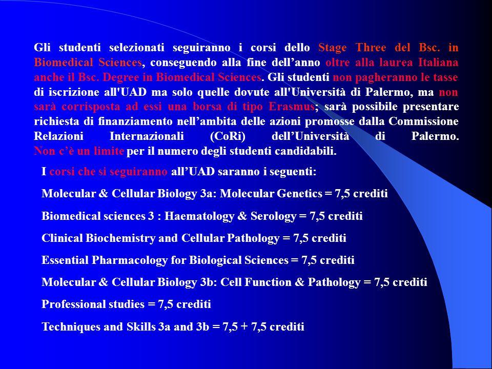 Gli studenti selezionati seguiranno i corsi dello Stage Three del Bsc. in Biomedical Sciences, conseguendo alla fine dell'anno oltre alla laurea Itali