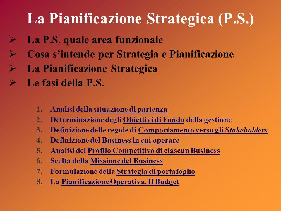 La Pianificazione Strategica (P.S.)  La P.S.