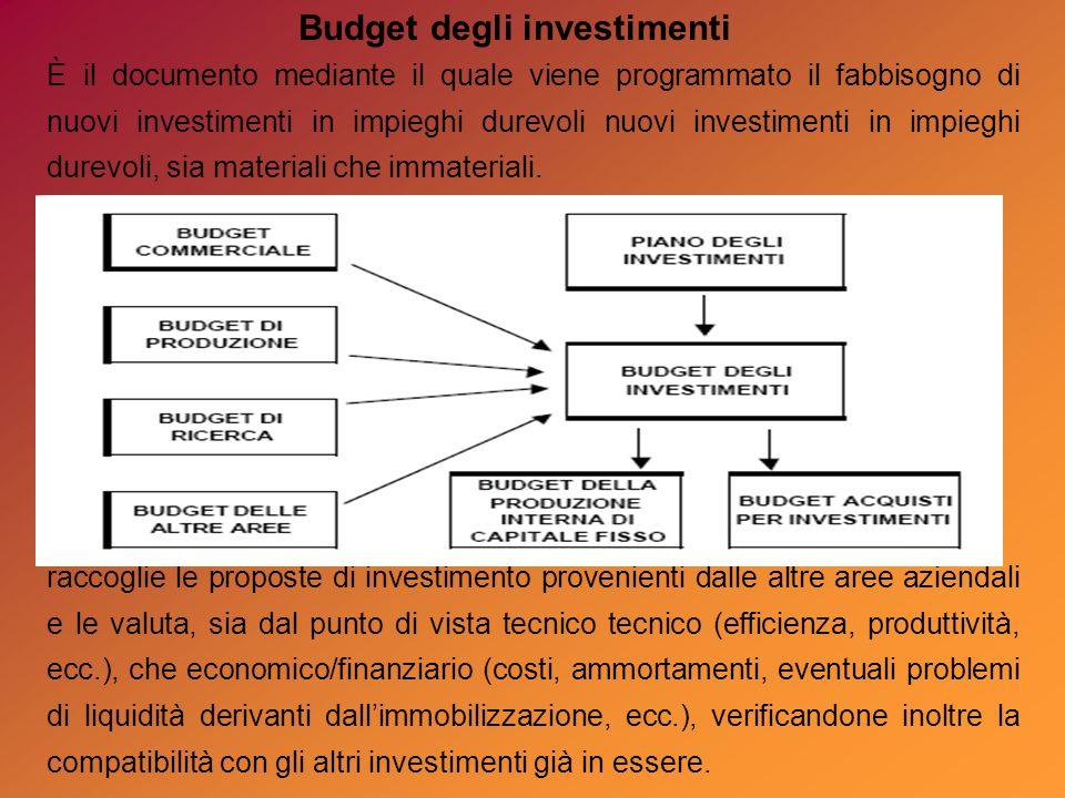 È il documento mediante il quale viene programmato il fabbisogno di nuovi investimenti in impieghi durevoli nuovi investimenti in impieghi durevoli, sia materiali che immateriali.