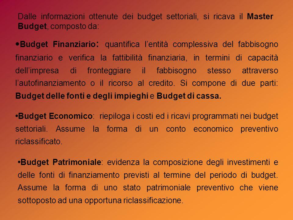Budget Finanziario : quantifica l'entità complessiva del fabbisogno finanziario e verifica la fattibilità finanziaria, in termini di capacità dell'impresa di fronteggiare il fabbisogno stesso attraverso l'autofinanziamento o il ricorso al credito.