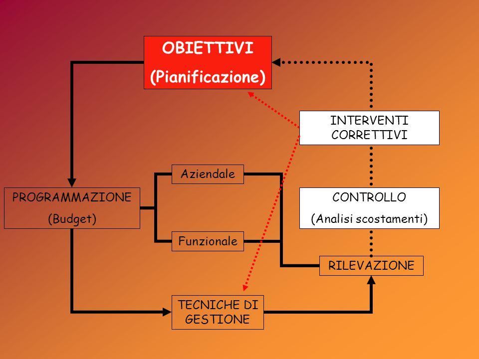 OBIETTIVI (Pianificazione) PROGRAMMAZIONE (Budget) RILEVAZIONE Aziendale Funzionale TECNICHE DI GESTIONE CONTROLLO (Analisi scostamenti) INTERVENTI CORRETTIVI