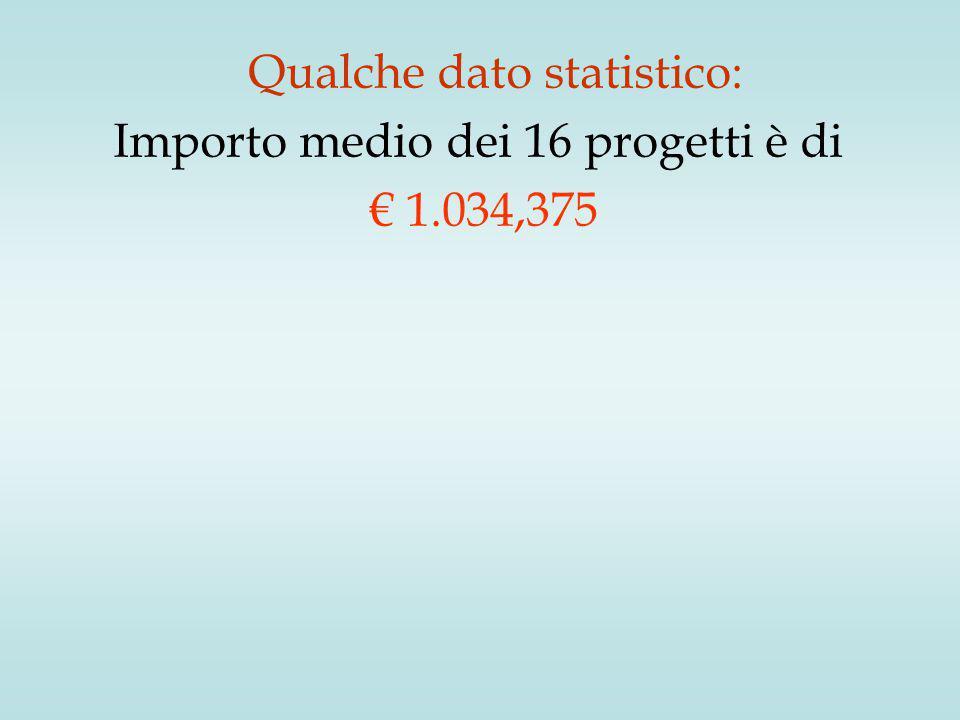 Importo medio dei 16 progetti è di € 1.034,375