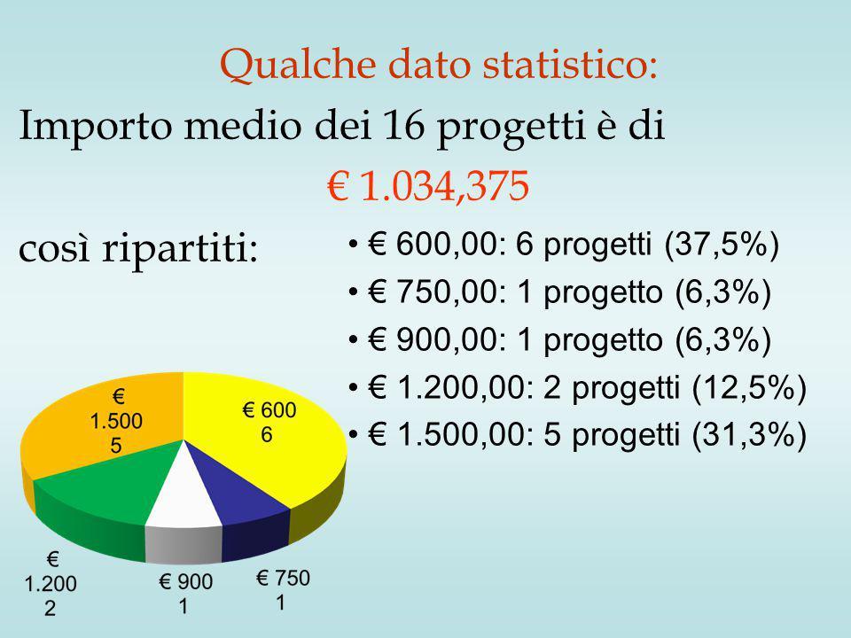 Qualche dato statistico: Importo medio dei 16 progetti è di € 1.034,375 così ripartiti: € 600,00: 6 progetti (37,5%) € 750,00: 1 progetto (6,3%) € 900,00: 1 progetto (6,3%) € 1.200,00: 2 progetti (12,5%) € 1.500,00: 5 progetti (31,3%)