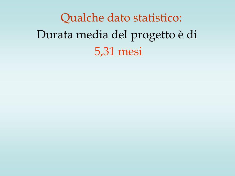 Qualche dato statistico: Durata media del progetto è di 5,31 mesi
