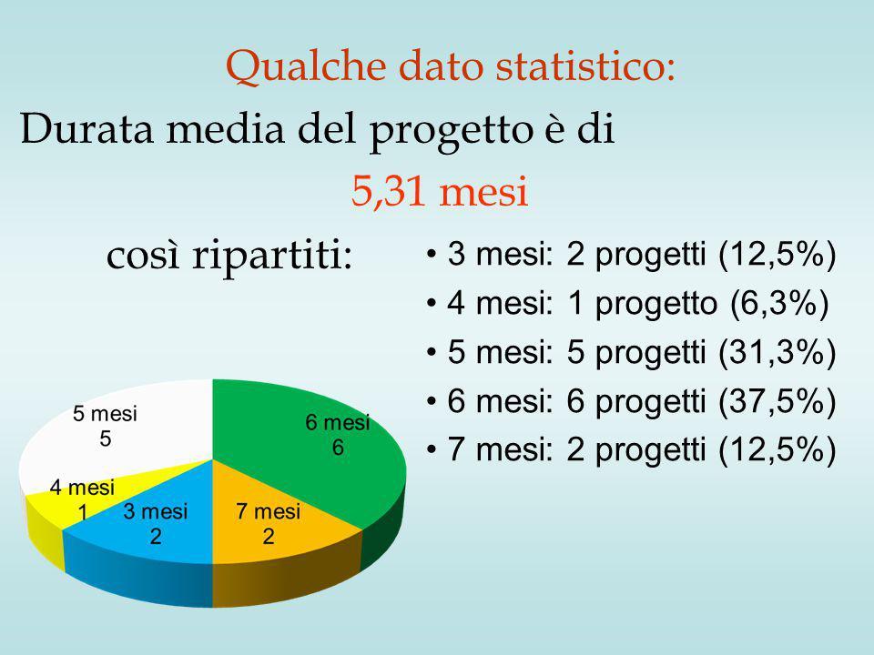 Qualche dato statistico: Durata media del progetto è di 5,31 mesi così ripartiti: 3 mesi: 2 progetti (12,5%) 4 mesi: 1 progetto (6,3%) 5 mesi: 5 progetti (31,3%) 6 mesi: 6 progetti (37,5%) 7 mesi: 2 progetti (12,5%)