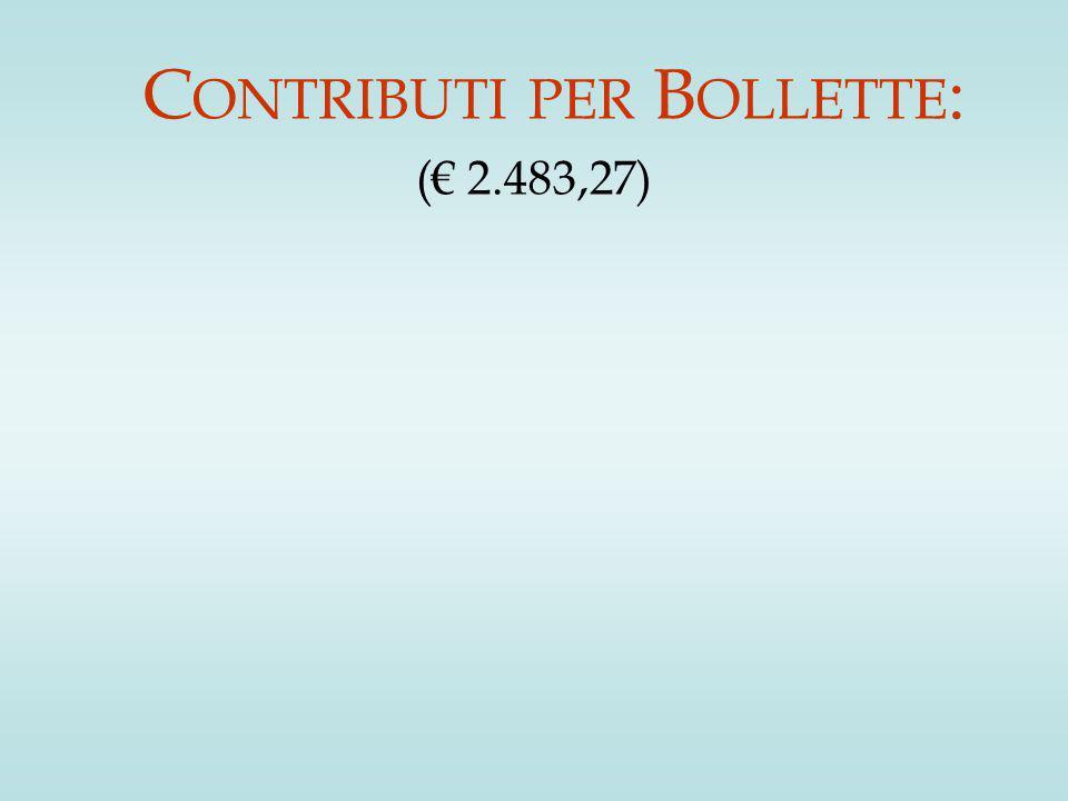 C ONTRIBUTI PER B OLLETTE : (€ 2.483,27)