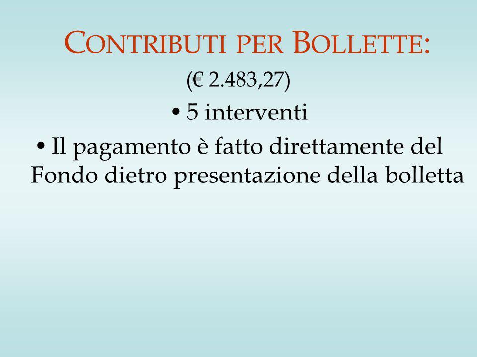 C ONTRIBUTI PER B OLLETTE : (€ 2.483,27) 5 interventi Il pagamento è fatto direttamente del Fondo dietro presentazione della bolletta