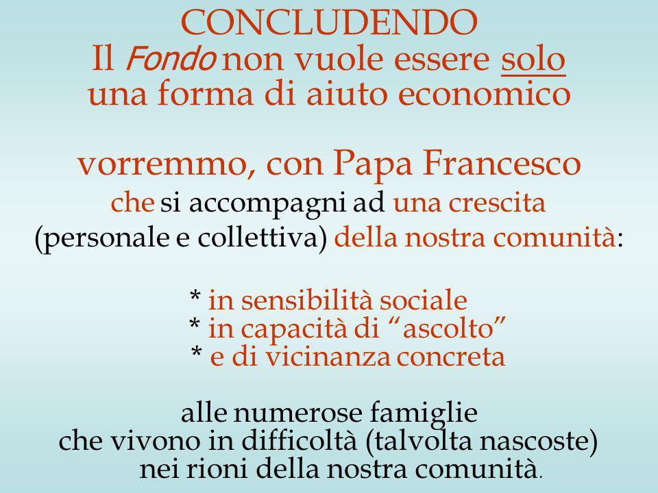 CONCLUDENDO Il Fondo non vuole essere solo una forma di aiuto economico vorremmo, con Papa Francesco che si accompagni ad una crescita (personale e co