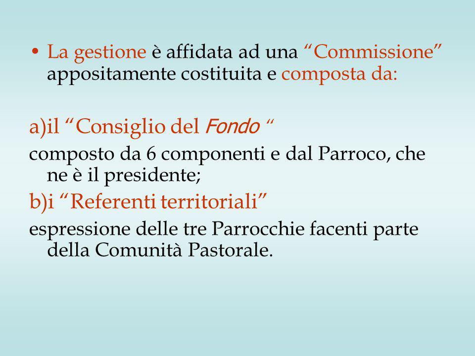 """La gestione è affidata ad una """"Commissione"""" appositamente costituita e composta da: a)il """"Consiglio del Fondo """" composto da 6 componenti e dal Parroco"""
