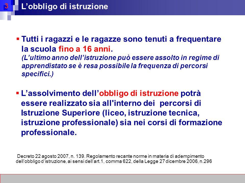 3 L'obbligo di istruzione Decreto 22 agosto 2007, n.