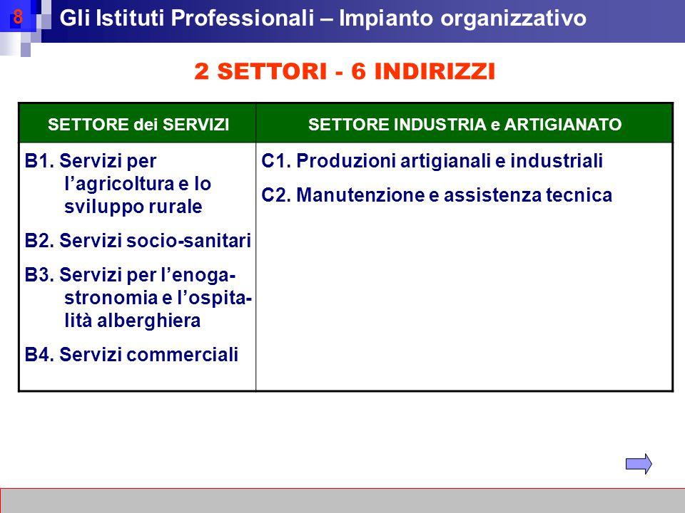 8 2 SETTORI - 6 INDIRIZZI SETTORE dei SERVIZISETTORE INDUSTRIA e ARTIGIANATO B1.