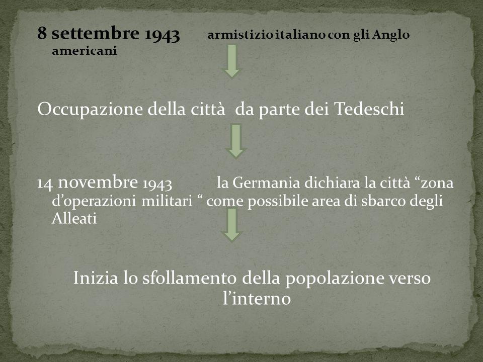 8 settembre 1943 armistizio italiano con gli Anglo americani Occupazione della città da parte dei Tedeschi 14 novembre 1943 la Germania dichiara la ci