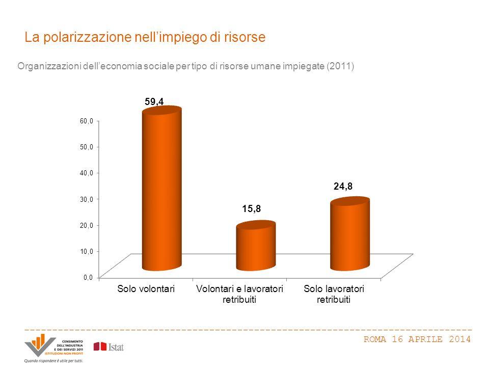 La polarizzazione nell'impiego di risorse ROMA 16 APRILE 2014 Organizzazioni dell'economia sociale per tipo di risorse umane impiegate (2011)