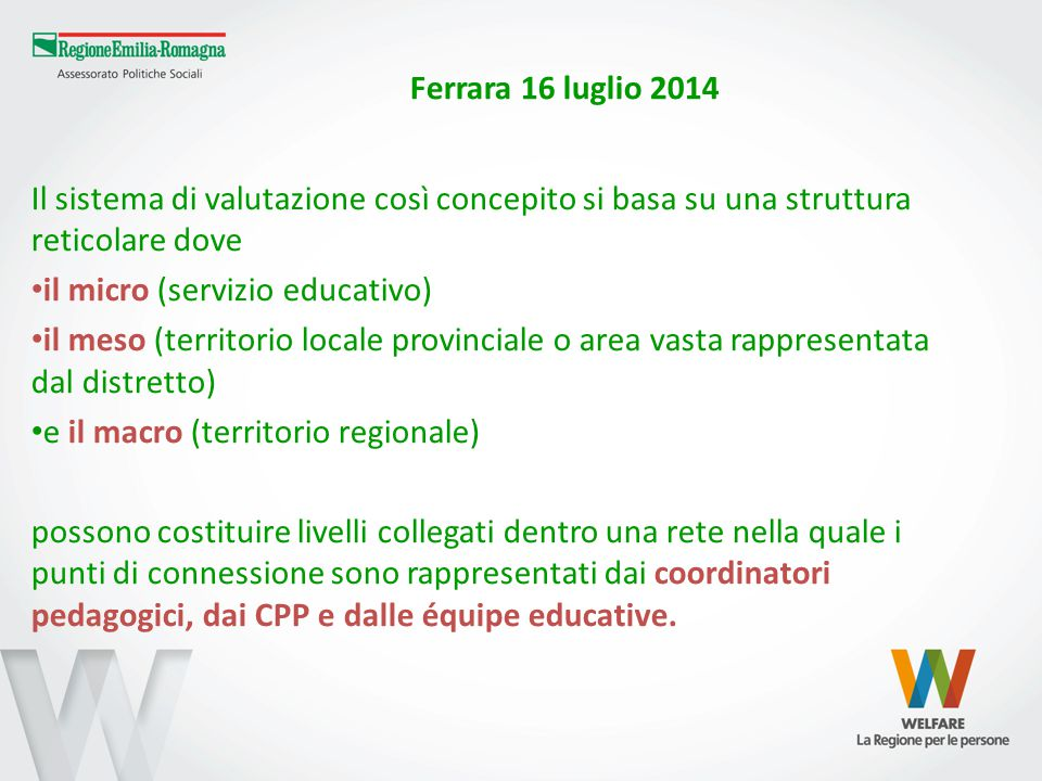 Ferrara 16 luglio 2014 Provincia tavolo CPP Comune Servizi 0-3 pubblici e privati convenzionati équipe educatori e coordinatori Regione Tavolo regionale Tutor CPP