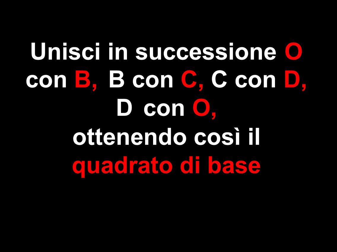 Unisci in successione O con B, B con C, C con D, D con O, ottenendo così il quadrato di base
