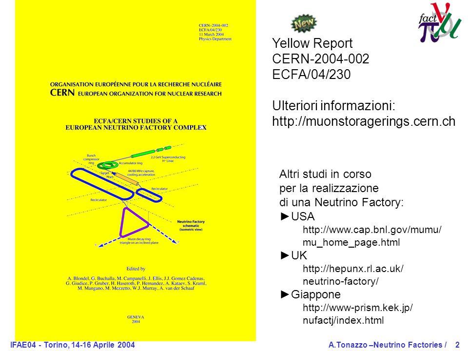 IFAE04 - Torino, 14-16 Aprile 2004A.Tonazzo –Neutrino Factories /2 Yellow Report CERN-2004-002 ECFA/04/230 Ulteriori informazioni: http://muonstoragerings.cern.ch Altri studi in corso per la realizzazione di una Neutrino Factory: ►USA http://www.cap.bnl.gov/mumu/ mu_home_page.html ►UK http://hepunx.rl.ac.uk/ neutrino-factory/ ►Giappone http://www-prism.kek.jp/ nufactj/index.html