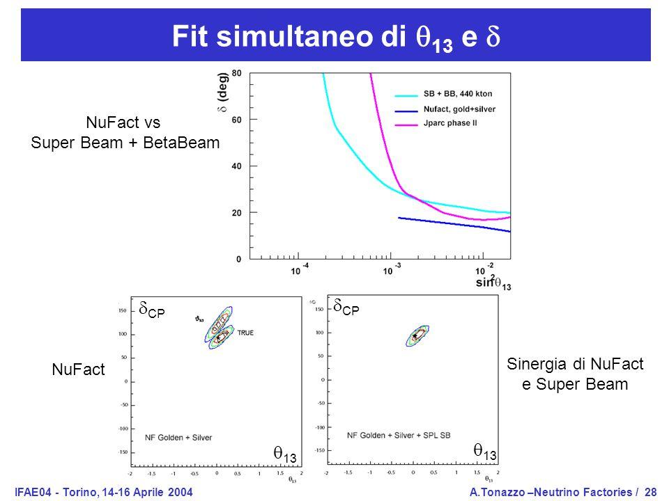 IFAE04 - Torino, 14-16 Aprile 2004A.Tonazzo –Neutrino Factories /28 Fit simultaneo di  13 e  NuFact vs Super Beam + BetaBeam NuFact Sinergia di NuFact e Super Beam  CP  13  CP