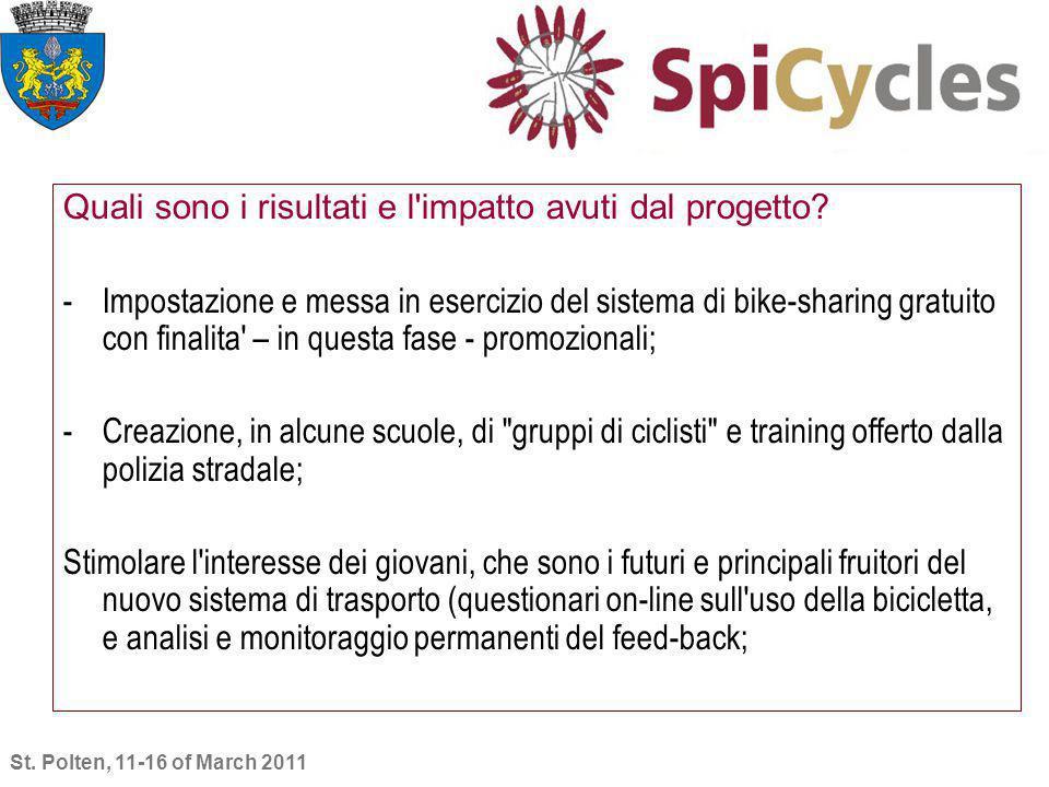 Quali sono i risultati e l'impatto avuti dal progetto? -Impostazione e messa in esercizio del sistema di bike-sharing gratuito con finalita' – in ques