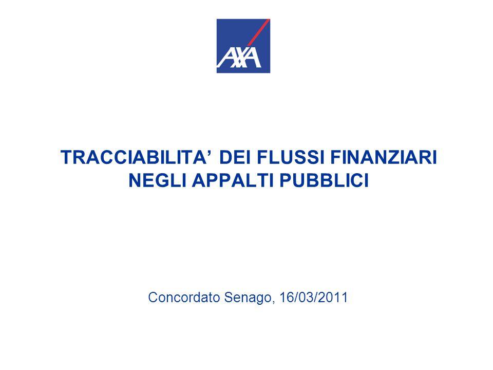 TRACCIABILITA' DEI FLUSSI FINANZIARI NEGLI APPALTI PUBBLICI Concordato Senago, 16/03/2011