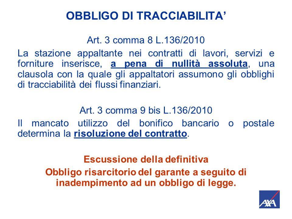 OBBLIGO DI TRACCIABILITA' Art.