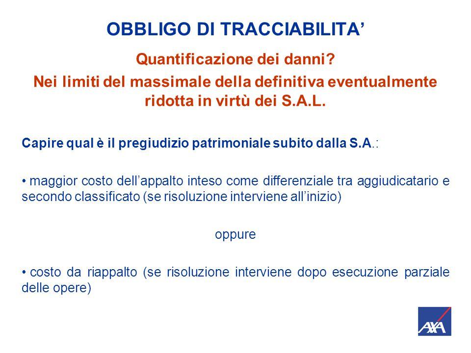 OBBLIGO DI TRACCIABILITA' Quantificazione dei danni.
