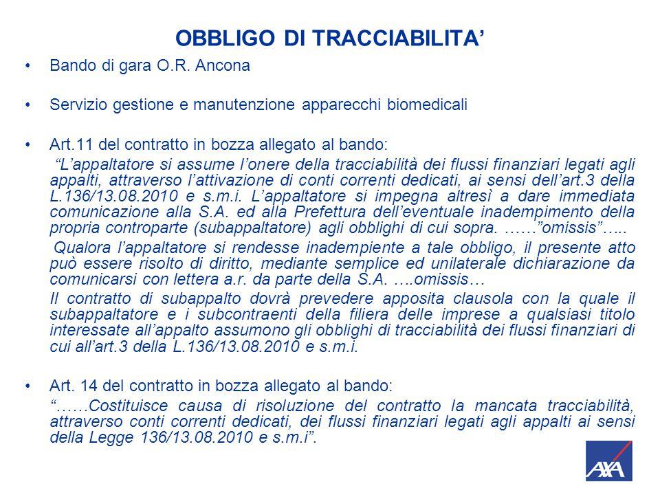 OBBLIGO DI TRACCIABILITA Fino alla scadenza del periodo transitorio (17/6/2011) potranno essere fatti tutti i pagamenti richiesti in esecuzione del contratto anche se lo stesso è privo della clausola di tracciabilità e del CIG (codice identificativo di gara).