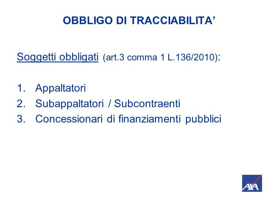 OBBLIGO DI TRACCIABILITA' Soggetti obbligati (art.3 comma 1 L.136/2010) : 1.Appaltatori 2.Subappaltatori / Subcontraenti 3.Concessionari di finanziamenti pubblici