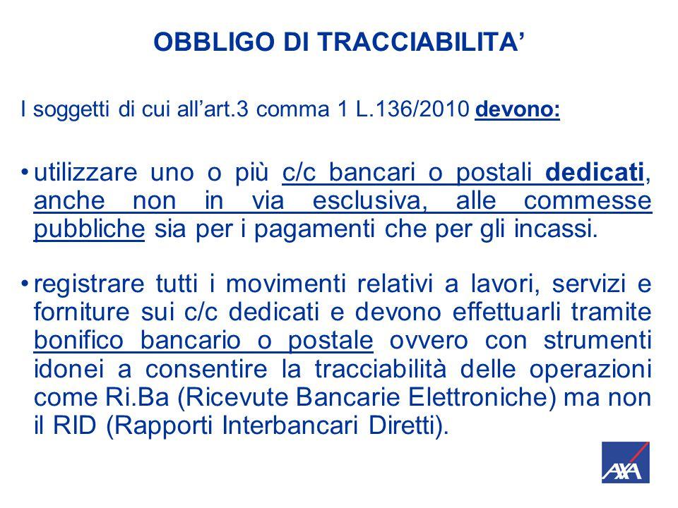 OBBLIGO DI TRACCIABILITA' I soggetti di cui all'art.3 comma 1 L.136/2010 devono: utilizzare uno o più c/c bancari o postali dedicati, anche non in via esclusiva, alle commesse pubbliche sia per i pagamenti che per gli incassi.