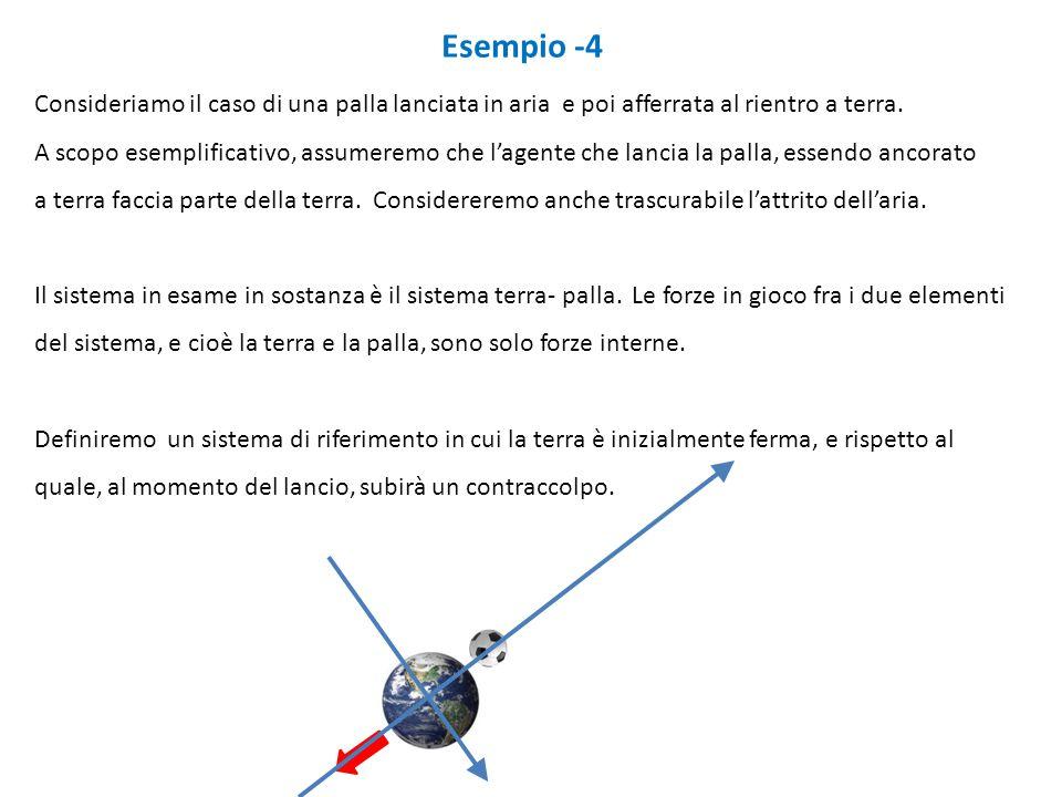 Esempio -4 Consideriamo il caso di una palla lanciata in aria e poi afferrata al rientro a terra. A scopo esemplificativo, assumeremo che l'agente che