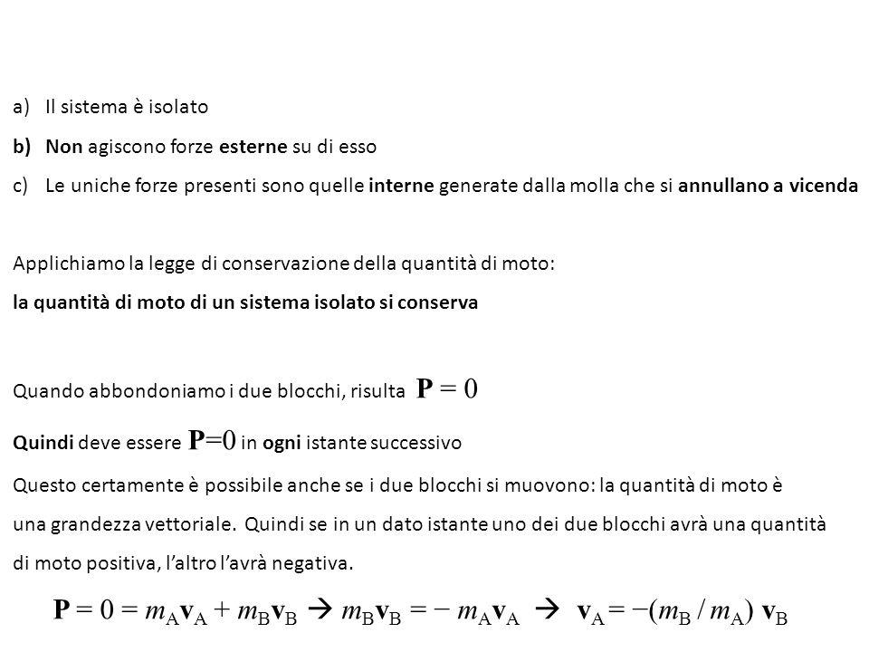 Quindi: le velocità sono sempre di segno opposto e con il rapporto fra i moduli inverso al rapporto fra le masse L'energia cinetica di A vale: K A = ½ m A v A 2 che possiamo scrivere come: (m A v A ) 2 / 2m A Analogamente: K B = ½ m B v B 2 che possiamo scrivere come: (m B v B ) 2 / 2m B Da cui, poiché : (m A v A ) 2 = (m B v B ) 2 risulta: K A / K B = m B / m A Cioè le energie cinetiche sono inversamente proporzionali alle rispettive masse Poiché l'energia meccanica si conserva, i blocchi continueranno a oscillare scambiando Continuamente energia cinetica e energia potenziale.