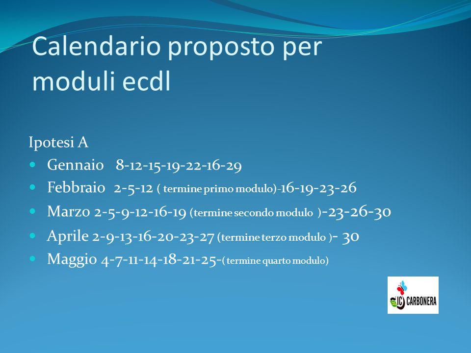 Calendario proposto per moduli ecdl Ipotesi A Gennaio 8-12-15-19-22-16-29 Febbraio 2-5-12 ( termine primo modulo)- 16-19-23-26 Marzo 2-5-9-12-16-19 (t