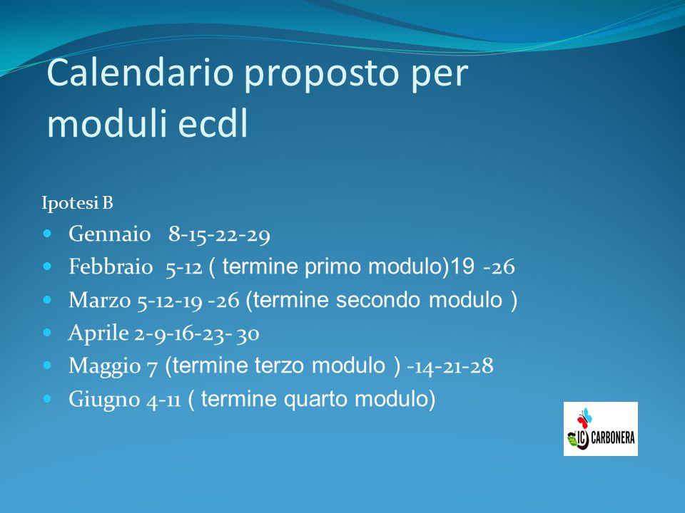 Calendario proposto per moduli ecdl Ipotesi B Gennaio 8-15-22-29 Febbraio 5-12 ( termine primo modulo)19 -26 Marzo 5-12-19 -26 (termine secondo modulo