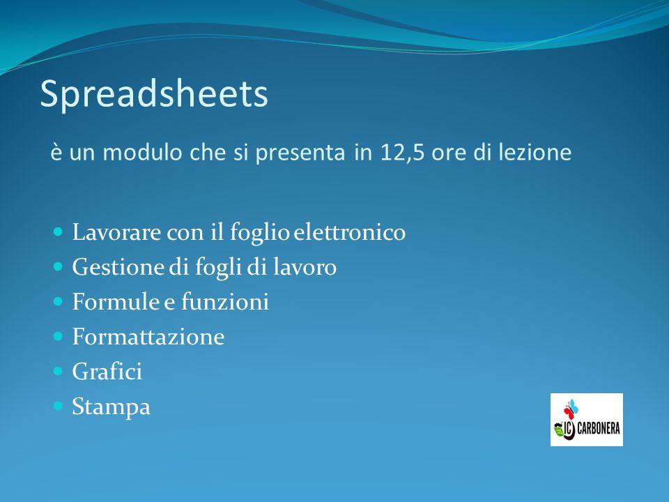Spreadsheets è un modulo che si presenta in 12,5 ore di lezione Lavorare con il foglio elettronico Gestione di fogli di lavoro Formule e funzioni Form