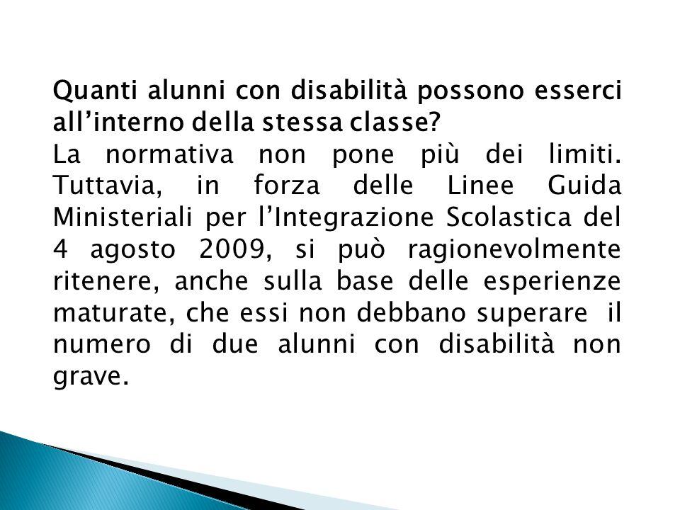 Quanti alunni con disabilità possono esserci all'interno della stessa classe.