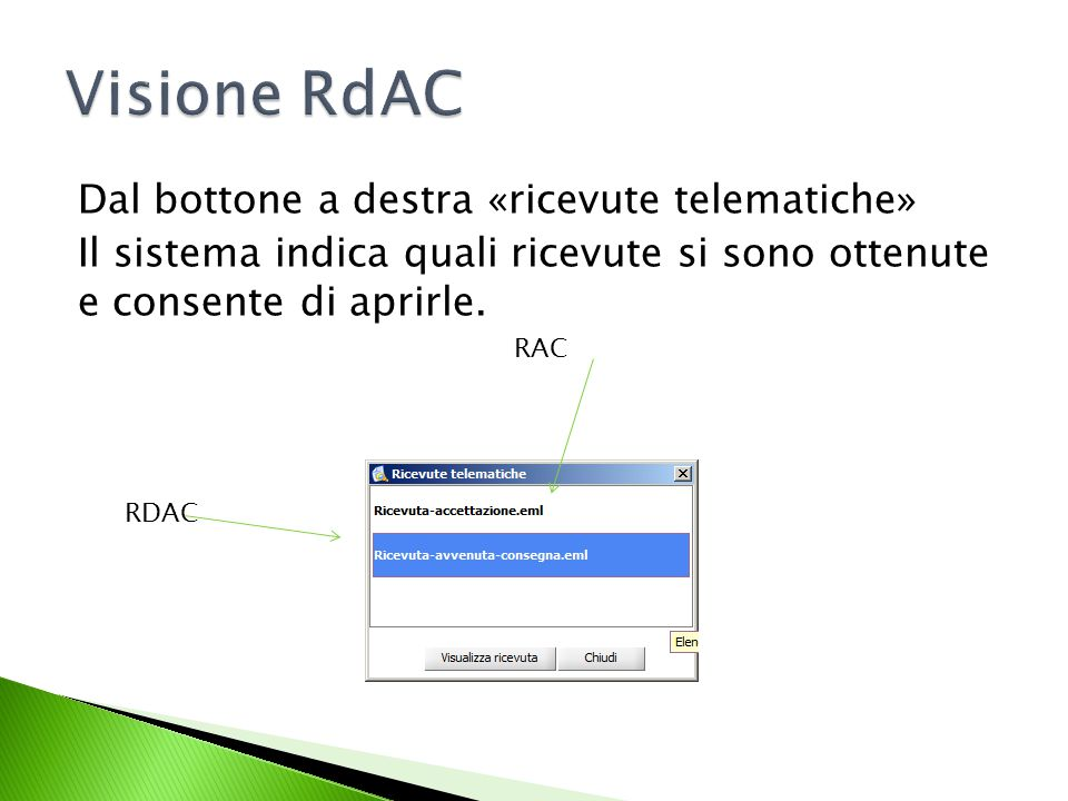 Dal bottone a destra «ricevute telematiche» Il sistema indica quali ricevute si sono ottenute e consente di aprirle.