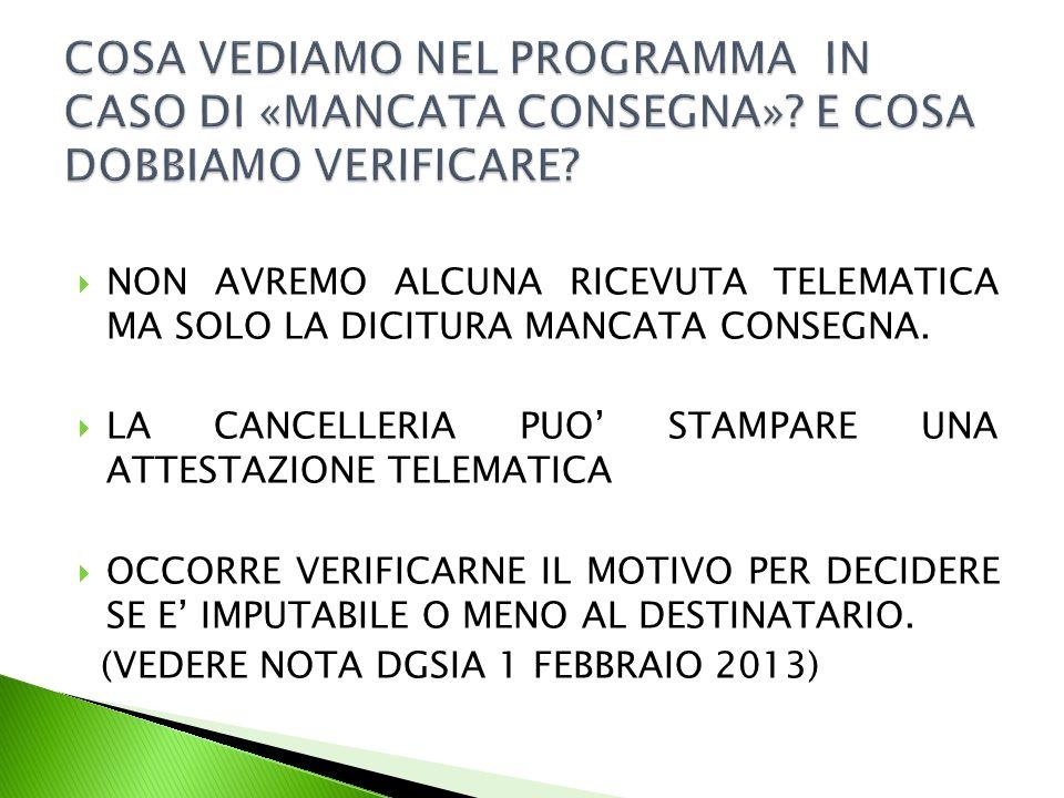  NON AVREMO ALCUNA RICEVUTA TELEMATICA MA SOLO LA DICITURA MANCATA CONSEGNA.