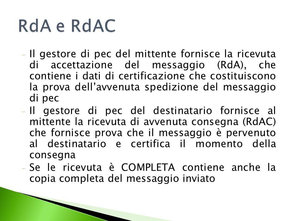 Il sw ci indica se vi è la RdAC o una mancata consegna Esito negativo pe c Esito positivo Ritirato in cancelleria