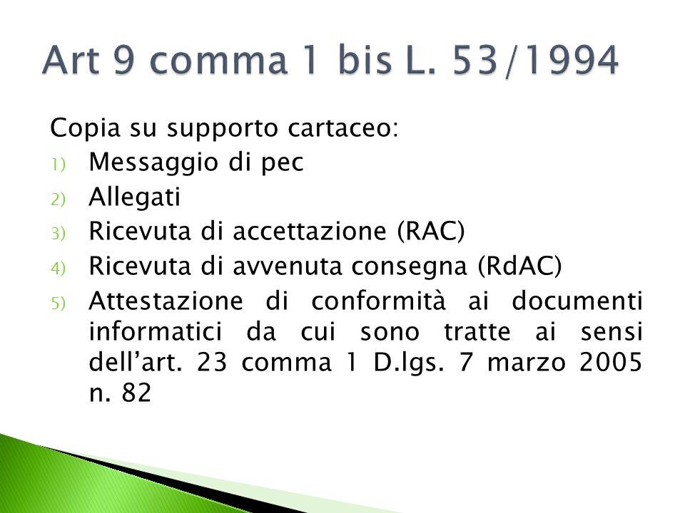Copia su supporto cartaceo: 1) Messaggio di pec 2) Allegati 3) Ricevuta di accettazione (RAC) 4) Ricevuta di avvenuta consegna (RdAC) 5) Attestazione di conformità ai documenti informatici da cui sono tratte ai sensi dell'art.