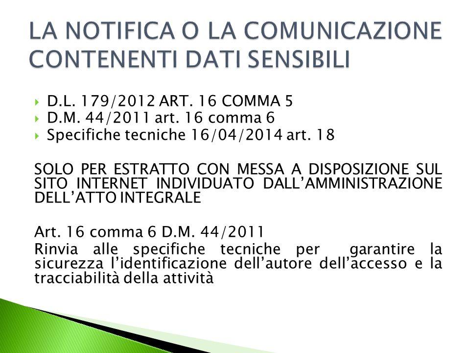  D.L.179/2012 ART. 16 COMMA 5  D.M. 44/2011 art.