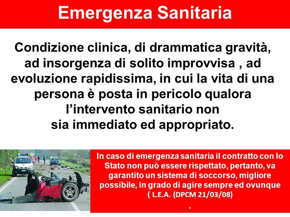 Emergenza Sanitaria Condizione clinica, di drammatica gravità, ad insorgenza di solito improvvisa, ad evoluzione rapidissima, in cui la vita di una pe