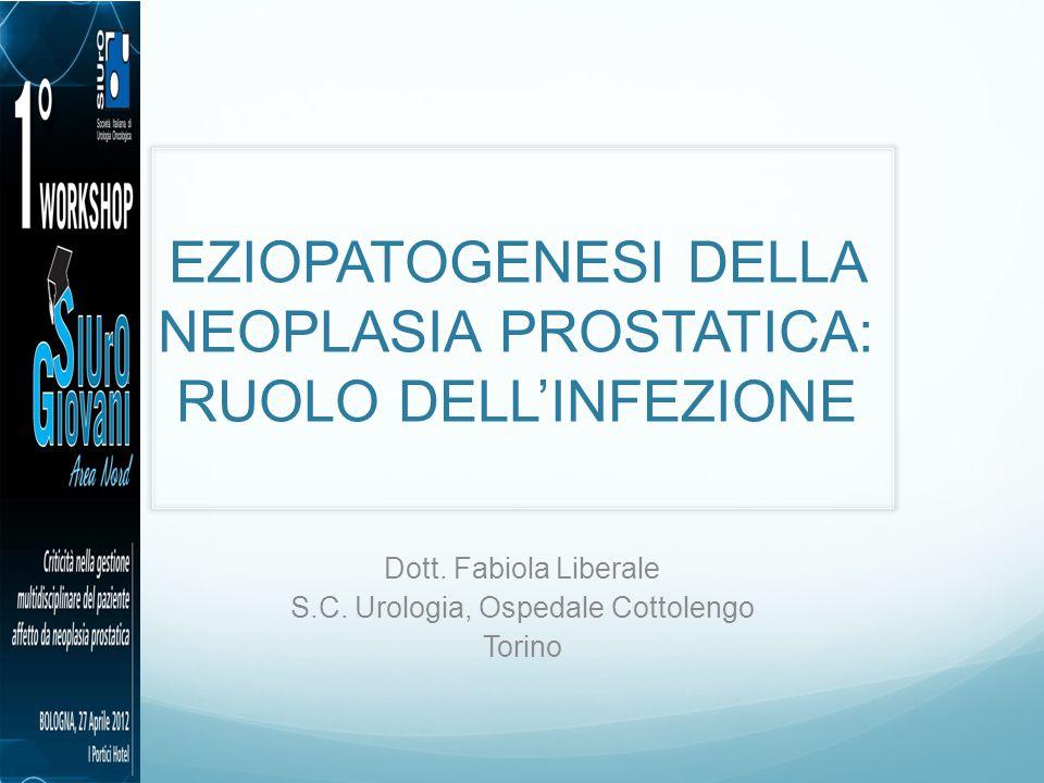 EZIOPATOGENESI DELLA NEOPLASIA PROSTATICA: RUOLO DELL'INFEZIONE Dott. Fabiola Liberale S.C. Urologia, Ospedale Cottolengo Torino