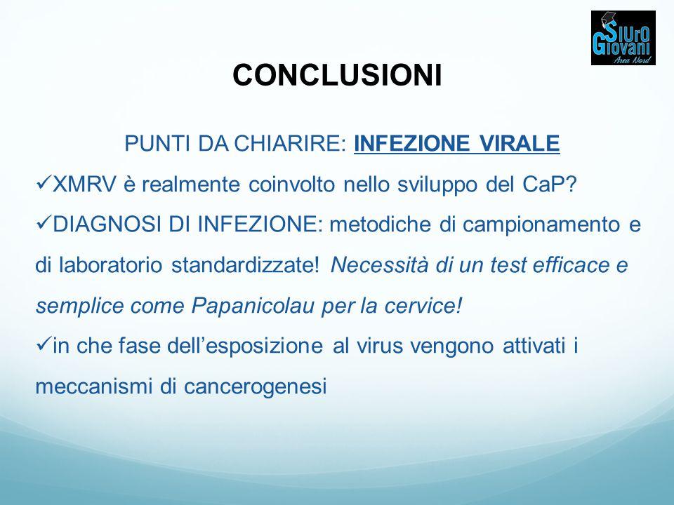 PUNTI DA CHIARIRE: INFEZIONE VIRALE XMRV è realmente coinvolto nello sviluppo del CaP? DIAGNOSI DI INFEZIONE: metodiche di campionamento e di laborato
