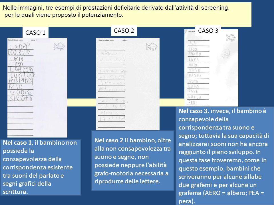 Nelle immagini, tre esempi di prestazioni deficitarie derivate dall'attività di screening, per le quali viene proposto il potenziamento. CASO 1 CASO 2