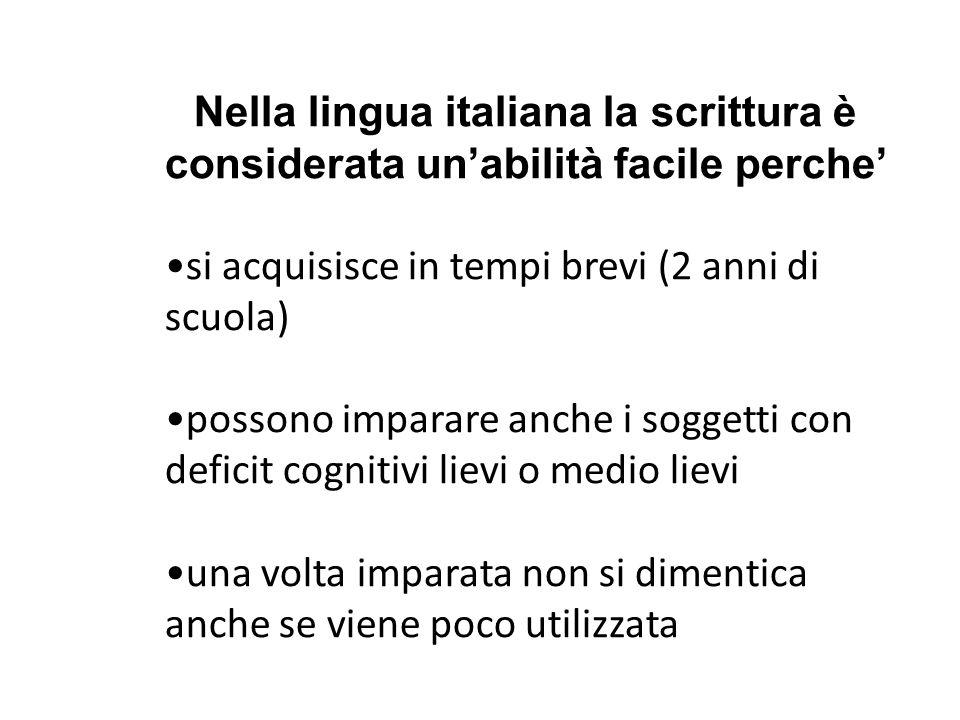 Nella lingua italiana la scrittura è considerata un'abilità facile perche' si acquisisce in tempi brevi (2 anni di scuola) possono imparare anche i so