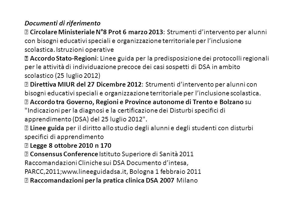 Documenti di riferimento Circolare Ministeriale N°8 Prot 6 marzo 2013: Strumenti d'intervento per alunni con bisogni educativi speciali e organizzazio