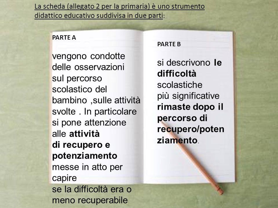 La scheda (allegato 2 per la primaria) è uno strumento didattico educativo suddivisa in due parti : PARTE A vengono condotte delle osservazioni sul pe
