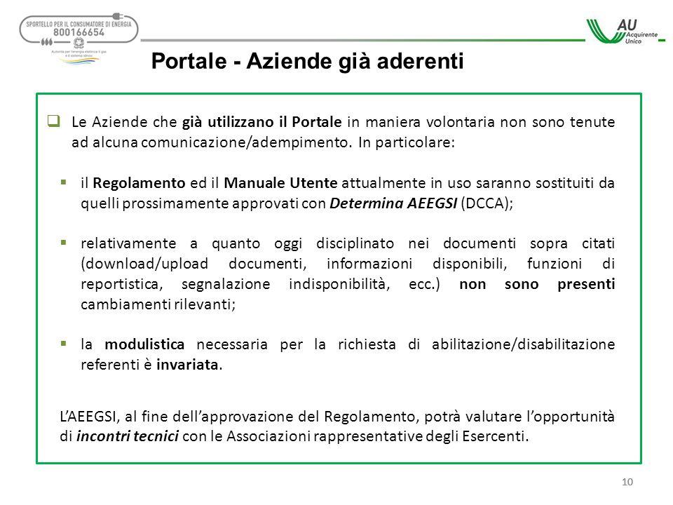 10 Portale - Aziende già aderenti  Le Aziende che già utilizzano il Portale in maniera volontaria non sono tenute ad alcuna comunicazione/adempimento