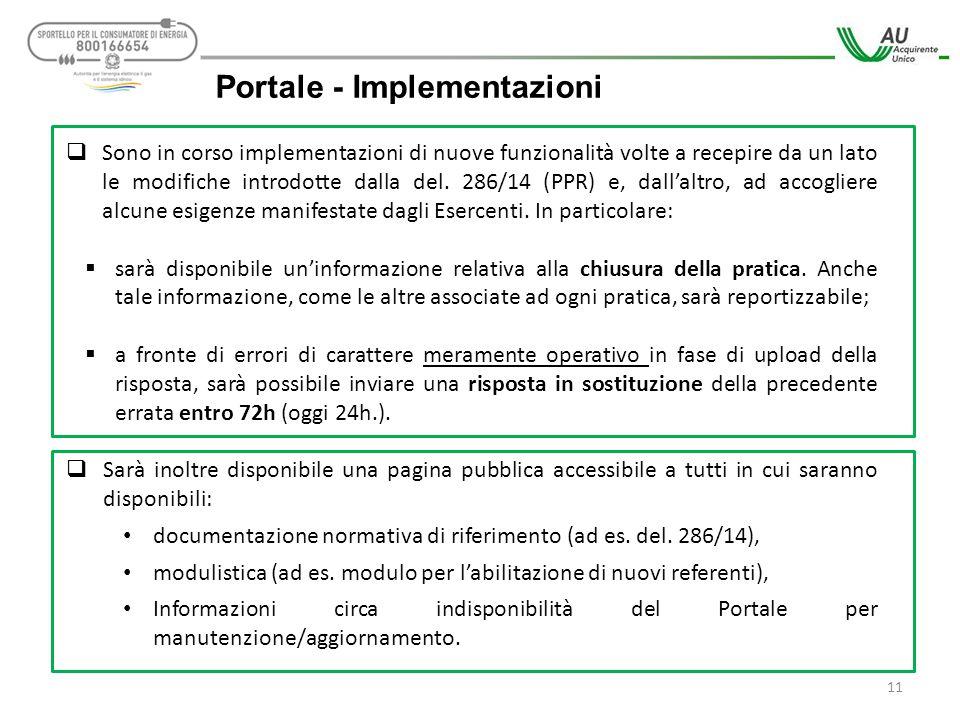 11 Portale - Implementazioni  Sono in corso implementazioni di nuove funzionalità volte a recepire da un lato le modifiche introdotte dalla del. 286/