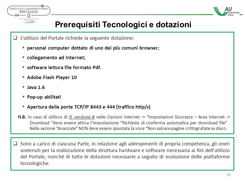  L'utilizzo del Portale richiede la seguente dotazione:  personal computer dottato di uno dei più comuni browser;  collegamento ad Internet;  soft
